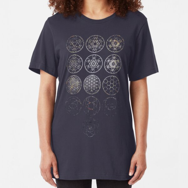 13 Circles [Tight Cluster Galaxy]   Sacred Geometry Slim Fit T-Shirt