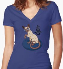 Siamese Chinese Cat Women's Fitted V-Neck T-Shirt