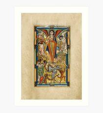 Saint Michael Battling the Dragon (1170 AD) Art Print