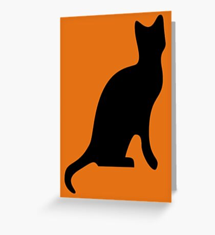 Halloween Black Cat Smooth Silhouette Greeting Card