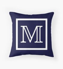 Navy Blue White Monogram M In a Square Throw Pillow