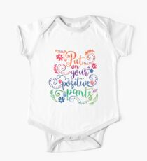 Watercolor Quote Positive Pants One Piece - Short Sleeve