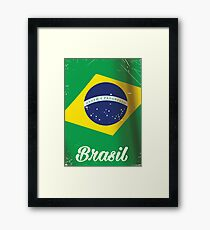 Brasil national flag vintage travel poster Framed Print