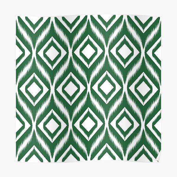 Ikat pattern ethnic tribal textile fabric aztec motif geometric mandalas native boho bohemian carpet African American digital paper  Poster