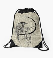 Goth Raven Pen&Ink Illustration,Vintage Dictionary Art Drawstring Bag