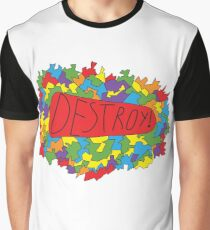 Abstract colorful geometry shapes elements background. Decorative planes. Inscription Destroy Graphic T-Shirt