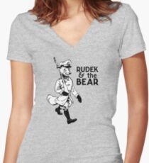 Rudek and the Bear Fitted V-Neck T-Shirt