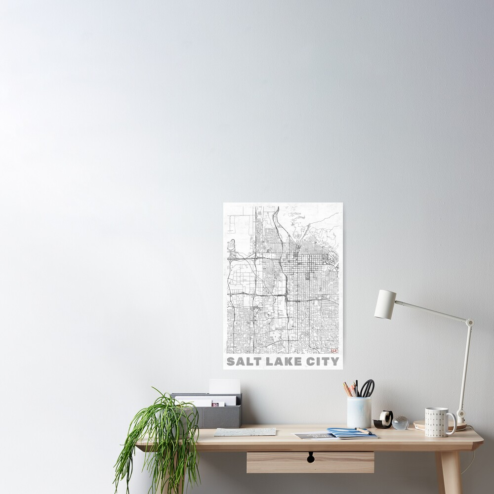 Salt Lake City Map Line Poster