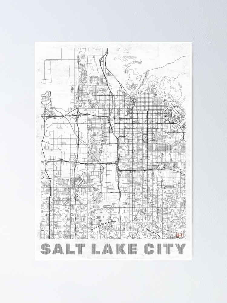 Alternate view of Salt Lake City Map Line Poster