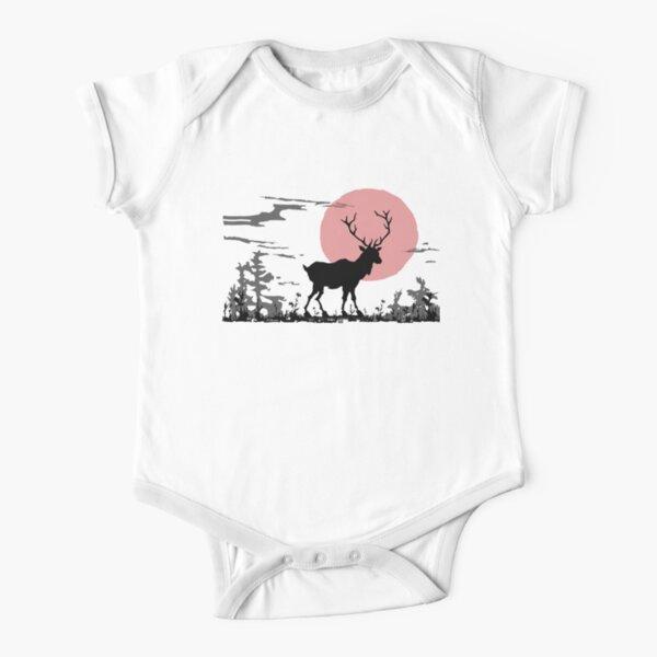 Deer in the woods - Woodblock Print Combo Short Sleeve Baby One-Piece
