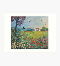 The House by Summer Meadow Art Print