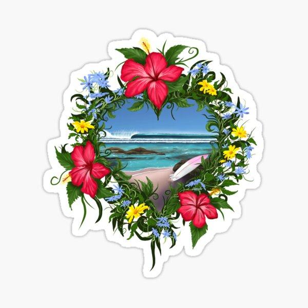 Floral Heart Surfing Sticker
