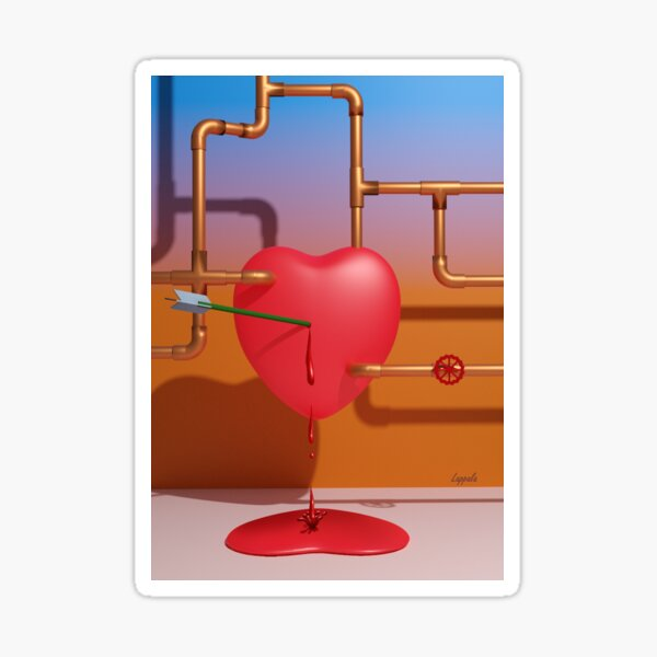 Cupid's Bleeding Heart Sticker