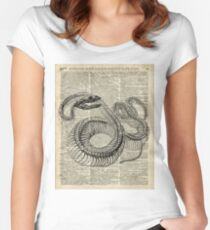 Boa Snake Skeleton,Ink and Pen Anatomy Chart,Vintage Dictionary Art Women's Fitted Scoop T-Shirt