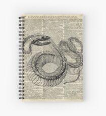 Boa Schlange Skelett, Tinte und Stift Anatomie Diagramm, Vintage Wörterbuch Kunst Spiralblock