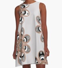 Black, Gray and White Foot Flowers A-Line Dress