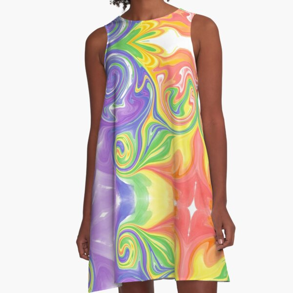 Rainbow Melted Milkshake Abstract A-Line Dress