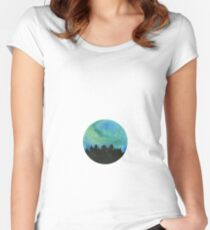 The northern lights watercolor Women's Fitted Scoop T-Shirt