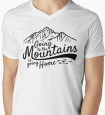 Going to the Mountains is going home T-Shirt mit V-Ausschnitt für Männer