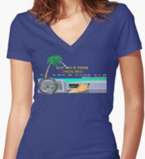 OUT RUN RADIO Women's Fitted V-Neck T-Shirt