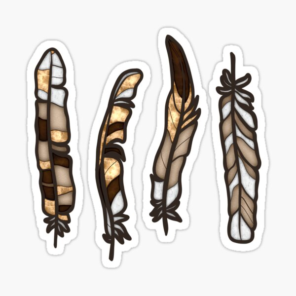 Faux Stained Glass Feathers Sticker