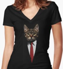 The Jacket Cat Women's Fitted V-Neck T-Shirt