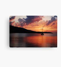 Sunset over a Greek Sea Canvas Print