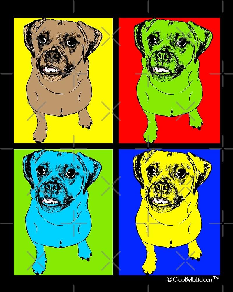 Designer Puggle Dog Pop Art by CiaoBellaLtd