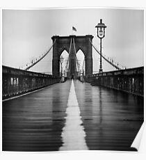 Brooklyn Bridge In Rain Poster