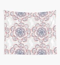 Woven Dream - Pink, Navy & White Mandala Wall Tapestry