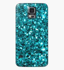 Teal Sparkly Confetti Glitter Case/Skin for Samsung Galaxy