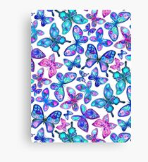 Watercolor Fruit Patterned Butterflies - aqua and sapphire Canvas Print