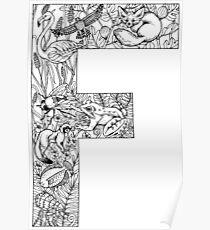 Animal Alphabet Letter F Poster