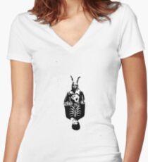 Donnie Darko (Black Background) Women's Fitted V-Neck T-Shirt