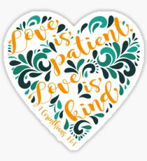1 Corinthians 13:4 Corazon Sticker