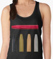 Oil Crayons with Bright Colors Red Pink Brown white and Black Women's Tank Top