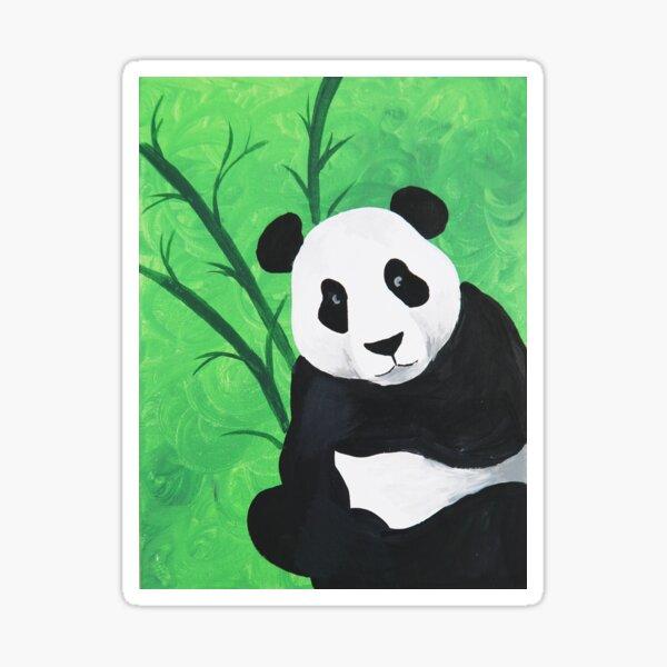 Happy Panda Bear With Bamboo Acrylic Painting Sticker