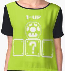 1 up Mushroom Nintendo Mario snes gaming tee 12 Chiffon Top