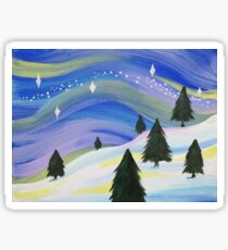 Whimsical Winter Scene Acrylic Painting Sticker