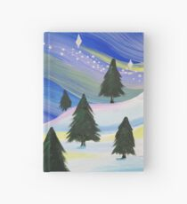 Whimsical Winter Scene Acrylic Painting Hardcover Journal