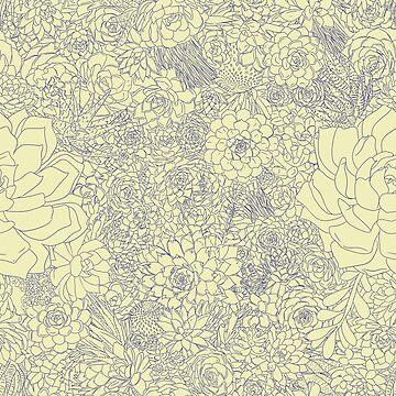 Succulents! (Blue & Yellow) by SachikoKawamura