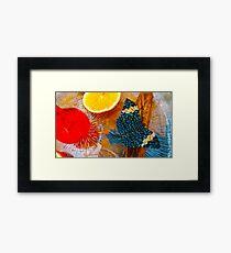 Blue Butterfly Scene Framed Print
