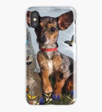 The Butterflies And The Little Bat Eared Puppy iPhone Case/Skin