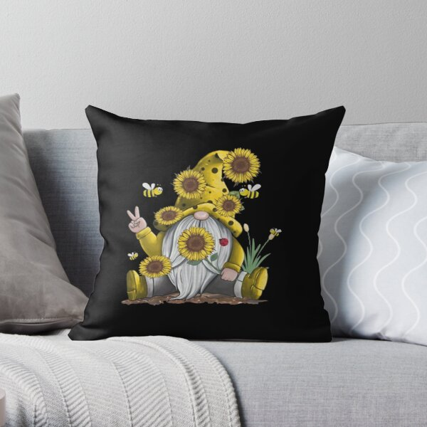 Sunflower Gnome With Bee Funny Hippie Gnome Throw Pillow