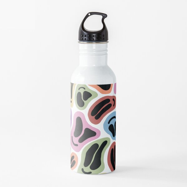 Wavy Pastel Smiley Faces Water Bottle