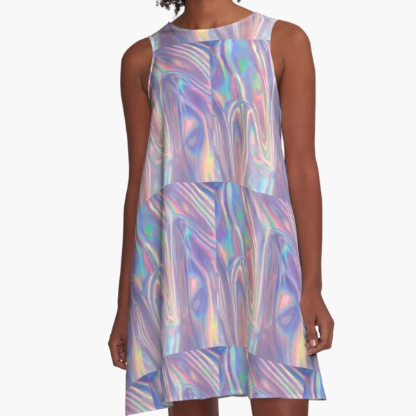 Holographic waves in purple A-Line Dress