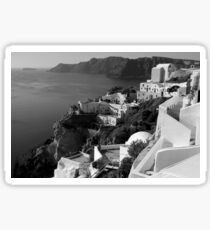 Santorini Cliffs ~ Black & White Sticker