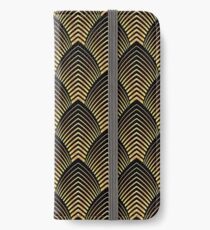Art deco,gold,black,chic,elegant,1020's,great the Gatsby,pattern,retro,vintage, beautiful,scale,shaped,decor,decorative,contemporary,style,stylish iPhone Wallet