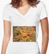 Autumn's Paint Brush Women's Fitted V-Neck T-Shirt