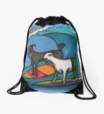 Surfing Goats Drawstring Bag